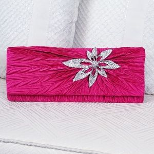 Hot pink ( fusion) clutch with flower rhinestones